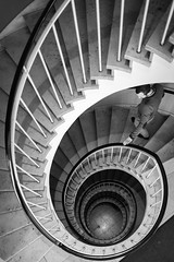 Spiral staircase (Thomas Geiregger) Tags: world street camera city travel portrait urban blackandwhite bw white black salzburg art monochrome composition 35mm munich square lens spiral lumix 50mm prime sterreich flickr moments fuji fotografie faces thomas candid fine creative commons scout scene snap best panasonic explore staircase squareformat fujifilm 20mm unposed downstairs 45mm humans spiralstaircase mft primelens festbrennweite photopgraphy tomge strassenfotografie flickriver gx7 streetphotopraphy microfourthird fujix100s x100s fujifilmx100s panasonicgx7 thomasgeiregger geiregger