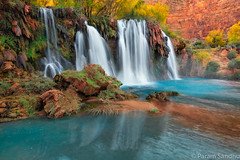 Fifty Foot Falls (photosisee) Tags: arizona southwest reflection fall water waterfall rocks desert turquoise oasis navajo travertine supai havasucanyon 2015 5ds fiftyfootfalls canon5dsr canon1124