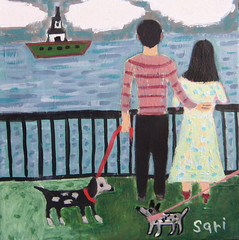 #1322 (sariart2) Tags: original abstract art beach dogs self painting boat back couple acrylic raw view folk ooak naive sari primitive childlike azaria noy taught sascape