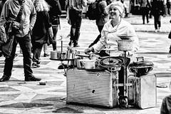 Just cookin' (MacCabri) Tags: street blackandwhite music monochrome copenhagen drums candid streetphotography chef drummer performer streetcapture