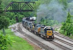 Have A Smoke (Trains & Trails) Tags: railroad june train diesel pennsylvania engine transportation locomotive csx fayettecounty connellsville sd402 8882 darkfuture yn3 standardcab l394