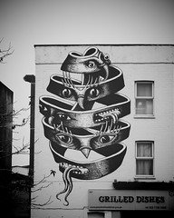 Street Art by Phlegm, Dulwich Road (firstnameunknown) Tags: urban streetart london art monochrome graffiti blackwhite mural escher camerabag dulwich phlegm camerabag2