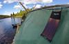 Rafting in Sweden (www.AlastairHumphreys.com) Tags: travel river solar slow panel sweden adventure klarälven rafting raft huck finn huckleberryfinn