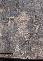 Petroglyphs / Potash Road Site (Ron Wolf) Tags: archaeology utah fremont nativeamerican earrings petroglyph anthropology rockart headdress anthropomorph anthromorph digitated