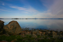 Tranquil Water (gullihanne) Tags: ocean sea summer sky seascape norway norge view sommer norwegen himmel nightphoto lofoten utsikt skyer hav fjære stille vestfjorden hamarøy