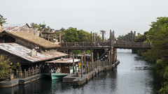 Waterway Station (hanz11hanz) Tags: park bridge disneysea trees sea water japan river tokyo boat village decoration sunny lagoon tourist disney themepark props attraction