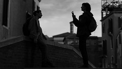 A shot in the dark (Just Ard) Tags: street venice people blackandwhite bw woman man blancoynegro monochrome silhouette person photography mono nikon noiretblanc zwartwit dusk candid 85mm d750 unposed  biancoenero schwarzundweis justard