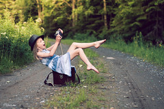 selfie (salas-3) Tags: portrait funny girl dress selfie camera olympusom10 retro nikon 50mm road forest summer hat warm lovely