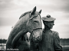 The Carter and his Horse (KevinMcMurtrie) Tags: blackandwhite bw sculpture horse david statue outdoor carter irvine harbourside carters annand