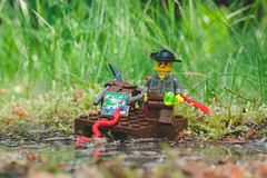 Max Villano's River Raft (amakles) Tags: old wild max set canon vintage river real 50mm lego outdoor bricks 1999 retro jungle raft 90s minifigure adventurers villano 5901 5902