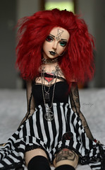 Chilling on the bed (Mientsje) Tags: winter red tattoo ball funny doll dolls skin body gothic goth goat event seal mohair satan bjd normal luts hybrid abjd zenith jointed 2011 bjds souldoll
