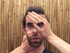 Hand  front  face (Lukinator) Tags: me face photoshop manipulated hair beard gesicht hand edited watch bart front adobe finepix fujifilm simple dem ich vor haare manipuliert hs20 bearbeitet schauen simpel