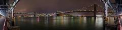 Manhattan & Brooklyn Bridges (Micka972) Tags: new york city color brooklyn night pose landscape photography nikon long exposure manhattan bridges pont paysage nuit couleur ville longue