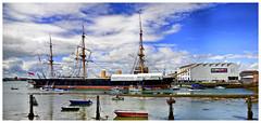 HMS Warrior (tsobanski19) Tags: uk england panorama museum europe ship harbour vessel historic portsmouth frigate hafen schiff d800 dockyard 1860 armoured masten fregatte gepanzert