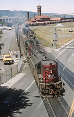 SP Crossing the Steel Bridge in Portland, OR -- 11 Photo Sequence (railfan 44) Tags: southernpacific