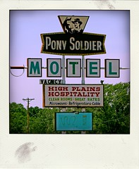 PONY SOLDIER MOTEL (Leo Reynolds) Tags: polaroid fake faux phoney fakepolaroid fauxpolaroid poladroid phoneypolaroid xleol30x