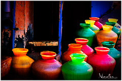 Color water pots lined up for filling (tnimalan) Tags: street travel india color colour south pots chennai coloured madurai tamil tamilnadu multicolour wanter