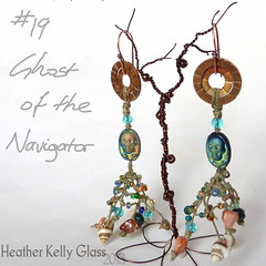13.05.06_E19_GhostoftheNavigator_03 (Heather Kelly Glass) Tags: net glass skull olive salmon shell peacock jewellery copper seashell earrings nautical rhyolite knots fishingnet freshwaterpearl piratetreasure 4ply 2013 waxedlinen botmo ghostofthenavigator flamepatina 52pairchallenge curiousbead