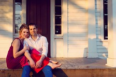 Porch + Light (erika eve) Tags: love evening engagement nikon couple may porch goldenhour sauvieisland bybeehouse nickmelissa heatwaveinmay wwwerikaplummercom portlandstreasure