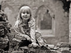 Mya at Bective Abbey (B.O.D) Tags: bw mamiya film monochrome abbey mono mya 645 fuji daughter neopan 100 19 119 acros 80mm f19 bective 645e infosol