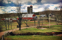 Shady Lane Farm (sminky_pinky100 (In and Out)) Tags: travel red canada tourism barn rural landscape stream novascotia farm farming scenic silos agriculture truro dairyfarm omot cans2s sweepingview thenewmasterclass