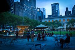 Bryant Park Nights (john.gillespie) Tags: sunset ny newyork skyline night dusk manhattan midtown empirestatebuilding bryantpark