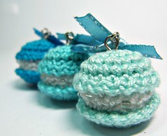 Amigurumi Earrings - Macarons in Blue - Handmade Miniature Jewelry Dangle Earrings (Ellyne (*)) Tags: miniature handmade jewelry macarons shadesofblue handmadejewelry dangleearrings frenchmacarons miniaturejewelry bluemacarons picmonkey:app=editor amigurumiearrings