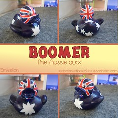 Boomer the Aussie Duck (Emleelion) Tags: blue red white stars jack toy design duck pattern flag country union under vinyl ducks australia down rubber plastic novelty national gift ducky aussie custom item duckies nationality customised