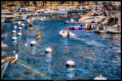 One Particular Harbor (Konaflyer) Tags: california woman man art water island harbor boat catalina nikon kayak ship paddle hdr channel avalon buoy rhib paddler d7000 ©markpatton