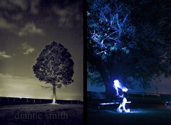 Stars, light, and phantom duck calls #1 (dianne_smith) Tags: longexposure tree night portraits bench stars photography texas unitedstates image ghost smith soul paintingwithlight astronomy glowing dianne juxtaposition flashlights lightstreaks juxtaposed nightportraits diannesmith paintingwithflashlights