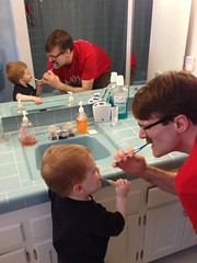 Time to Brush Teeth! (dianaschnuth) Tags: reflection home daddy bathroom mirror aaron connor son toothbrush
