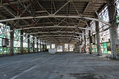 The cleaned-up interior of one building that will serve as a multi-purpose space (tomman) Tags: railroad yards urban yard train foundry factory decay albuquerque rail tvshowlocation railyard boiler filmlocation revitalize macgruber breakingbad terminatorsalvation