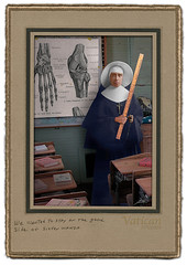 We Wanted to Stay on the Good Side of Sister Wanda (louoates) Tags: old school vintage photo sister antique digitalart nun punishment discipline