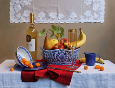 Live Out Loud. (Esther Spektor) Tags: blue red stilllife food orange white color reflection green art texture home apple glass leaves metal fruit composition canon silver table golden bottle stem artwork beige ceramics branch pattern wine linen embroidery availablelight napkin label curtain knife plate stilleben bowl banana ornament fantasy pear imagination esther drape pitcher arrangement everydaylife bodegon cobalt naturemorte kumquat goblet artisticphotography naturamorta spektor photomix naturezamorta creativephotography artdigital bej artofimages exoticimage blinkagain estherspektor bestevercompetitiongroup