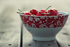 Red is the ultimate cure for sadness. (stjernesol) Tags: light red evening cherries yum bright colourful makesmesmileeverytime idolovecherries andthecolourissobrightandcheerful andthisbowlgoeswellwiththem andthebalconydeckmakesanicecontrasttoo icanfeeltheseasonschanging sohappywiththatp