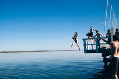 (Nicoandy) Tags: blue sky lake nature landscape jump dock sailing seneca
