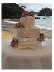 rachel (The Whole Cake and Caboodle ( lisa )) Tags: pink flowers wedding roses beach cakes cake rachel purple nola drapes whangarei tutukaka caboodle