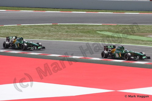 The Caterhams qualifying for the 2013 Spanish Grand Prix
