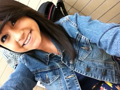 Baby shower (ArianaNicole22) Tags: floral girl smile female jean tan dimples brunette jeanjacket selfshot floraldress selfie