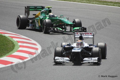Pastor Maldonado and Giedo van der Garde in the 2013 Spanish Grand Prix