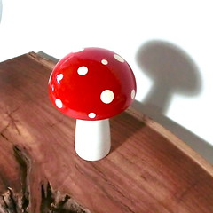 Trippy Toadstool - Wooden Mushroom - Red with White polka dots (raycious) Tags: wood pink blue red white green mushroom yellow forest woodland garden toy botanical wooden handmade alice magic rustic waldorf adorable australia brisbane fairy earthy fungus kawaii toadstool lime etsy recycle wonderland magical eco homedecor turning polkadot woodcraft reuse reclaim woodturning kinoko woderland
