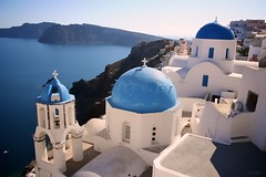 Blue Domes of Santorini (Kenneth J. Garcia) Tags: travel blue sea architecture europe traditional aegean santorini greece dome domes oia thira aegeansea