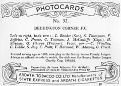 Beddington Corner F.C. Back (Purest Green '73) Tags: football cigarettecard photocard mitchamjunction hackbridge ardathtobacco beddingtoncorner beddingtoncornerfc