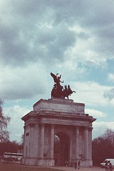 Roll 16 - Wellington Arch - Adox Color Implosion! Test Roll (Cris Ward) Tags: uk portrait slr london film vertical analog 35mm vintage intense saturated colorful britain grain vivid shift landmark retro analogue manual colourful grainy noise yashica wellingtonarch colorshift adox yashicafxd colorimplosion adoxcolorimplosion