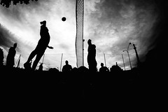 Playground [Explored on May 16, 2013] (click 'n' roll) Tags: street sky blackandwhite white black silhouette playground backlight clouds streetphotography silhouettes fisheye volleyball volley controluce pallavolo sigma15mmf28exdg dramaticcontrast nikond700