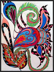 Alive (born 2 b creative) Tags: color ink paper colorful pattern drawing journal creation doodle pens copic journalpage 2013 zendangles