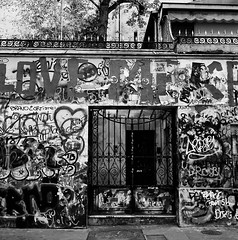 House for Grafitti (Purple Field) Tags: street bw paris france 120 6x6 tlr film monochrome analog rolleiflex square alley grafitti kodak trix 400tx medium   f28  schneider kreuznach 80mm    28f   xenotar        stphotographia x