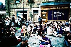 Ezra Street (cranjam) Tags: uk london film shop jones lomo lca xpro lomography kodak crowd sunny slide hackney dairy londra columbiaroad elitechrome100 ezrastreet