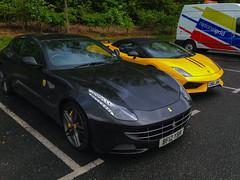 Beautiful find at the services (Reece Garside | Photography) Tags: wet car rain clouds ferrari lamborghini ff supercar services gallardo iphone lambo iphone5 performante