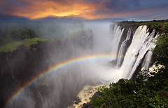 Victoria Falls sunset with rainbow, Zambia (Dietmar Temps) Tags: africa morning travel sunset vacation orange holid
